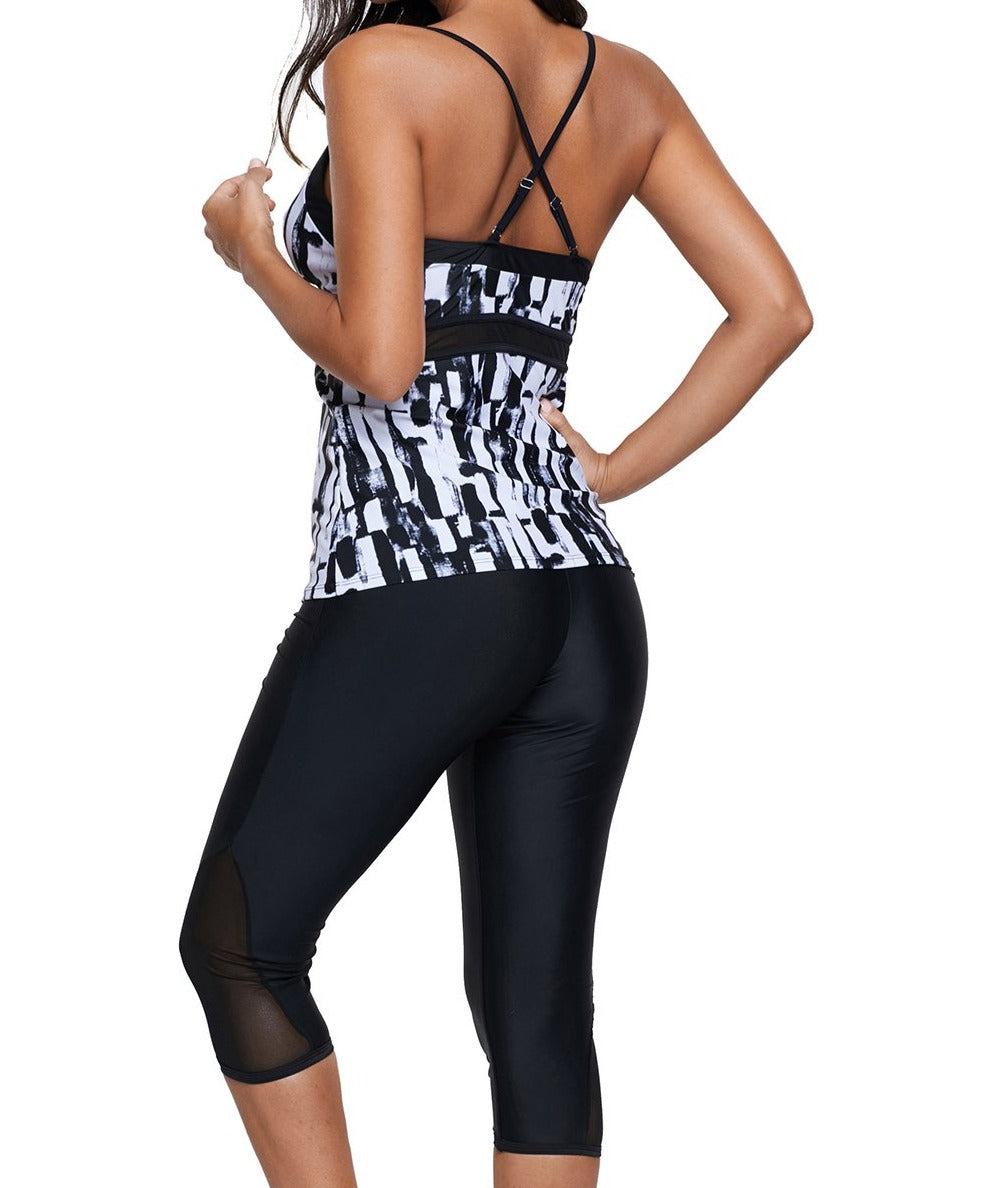 Abstract Print Tankini and Capris Short Swimsuit
