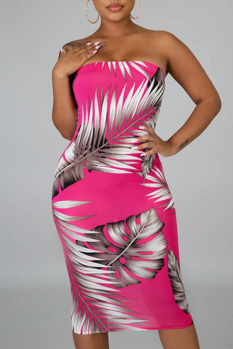 Rose Tropical Print Tube Bodycon Dress
