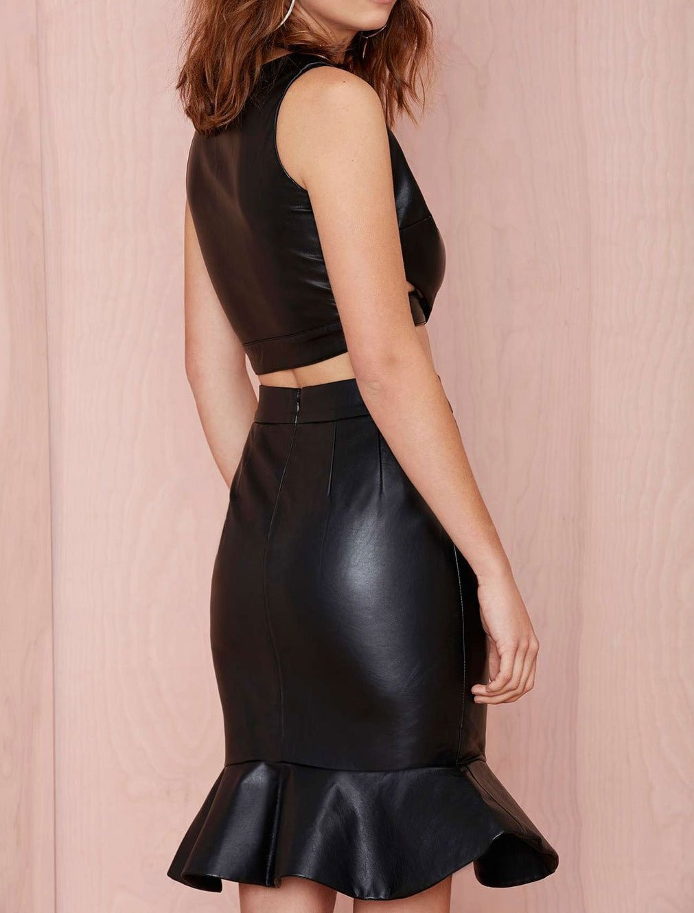 Black Shiny Leatherette Fashion Skirt Set