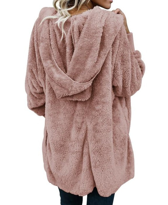 Pink Soft Fleece Hooded Open Front Coat