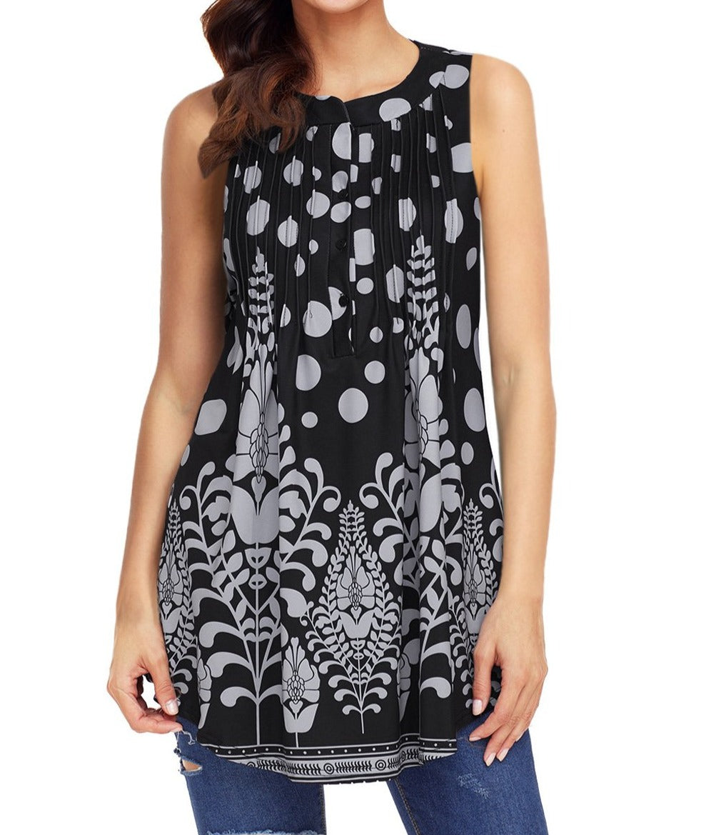 Black Grey Floral Print Flowy Tank Top