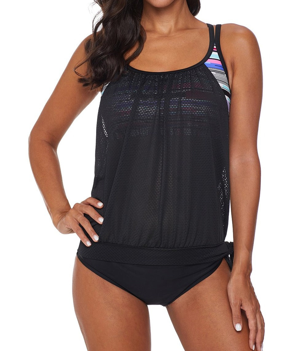 Black Layered Tankini Top with Brief Swimsuit