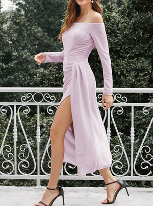 Light Purple Metallic Glitter Off Shoulder Formal Dress