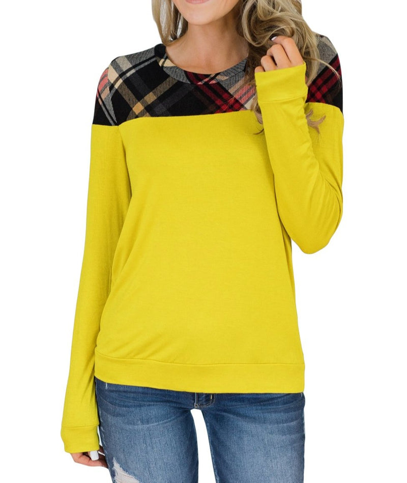 Yellow Plaid Long Sleeve Top