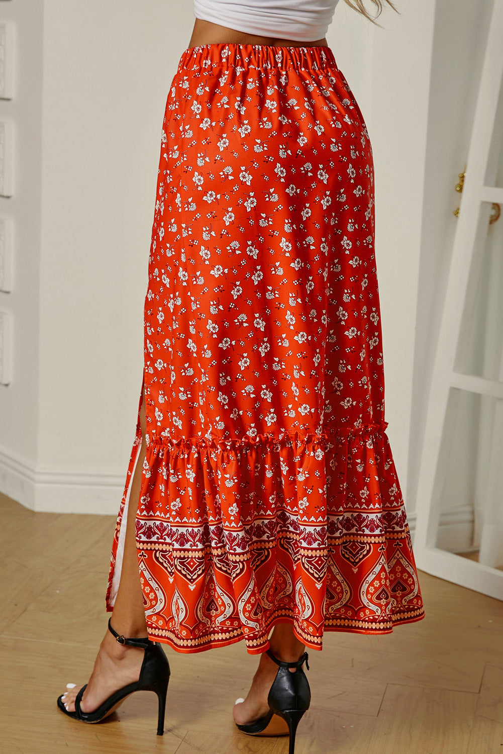 Multicolor Floral Print Maxi Skirt