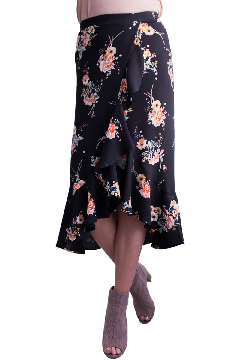 Floral Ruffle Wrap Skirt in Black