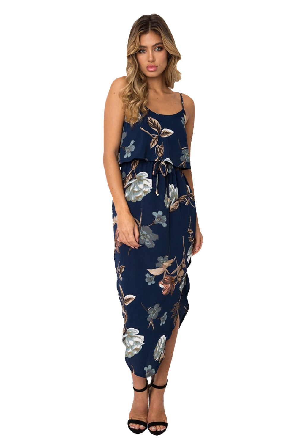 Navy Floral Print Summer Holiday Party Boho Dress