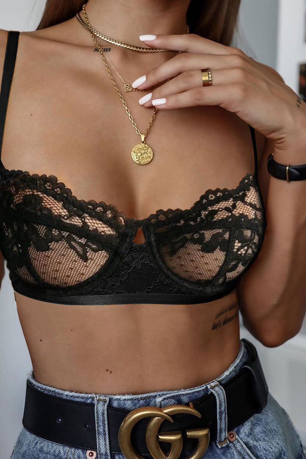 Black Romantic Love Lacy Bralette Lingerie