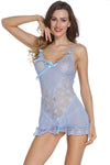 Light Blue Romantic and Feminine Fitted Babydoll