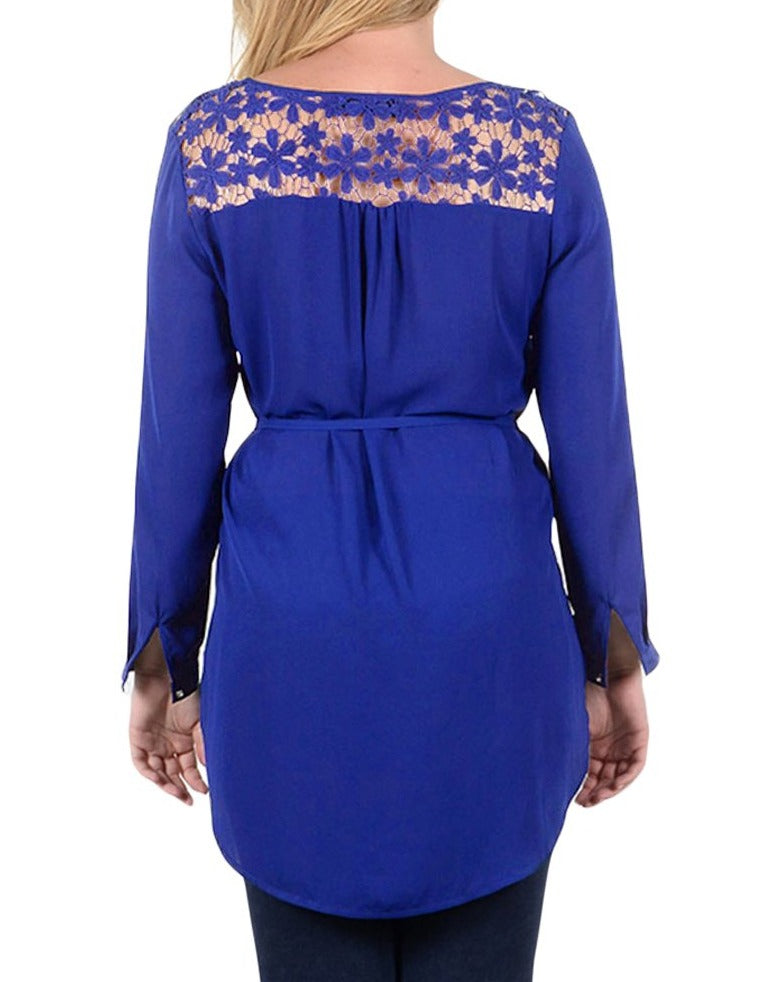 Navy Blue Lace Embellished Long Tail Plus Size Top