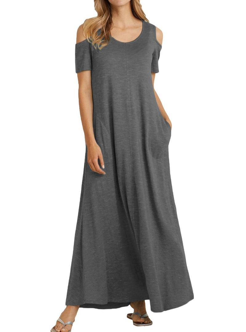 Charcoal Cold Shoulder Pocket Style Maxi Dress