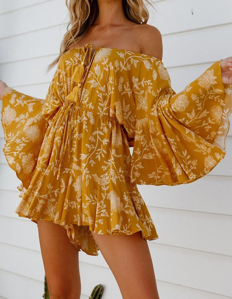 Yellow Off Shoulder Boho Romper