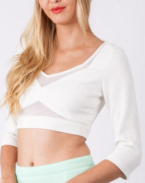White Mesh Insert Cut Out Top