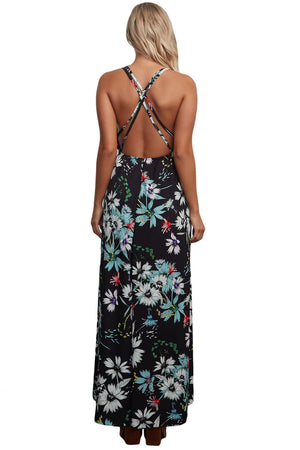 Black Floral Chiffon Spaghetti Straps Maxi Dress