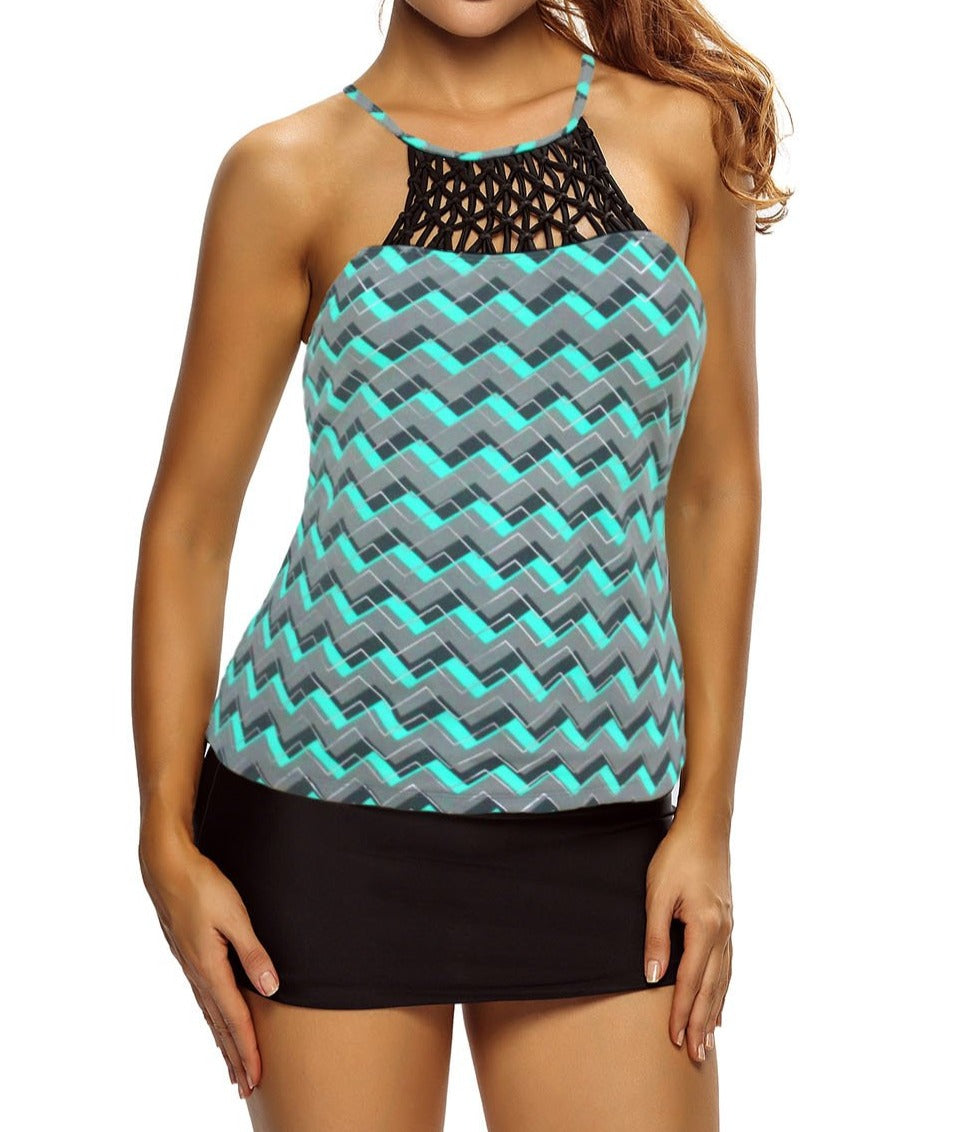 Echo Zigzag Print Macrame High Neck Swim Top