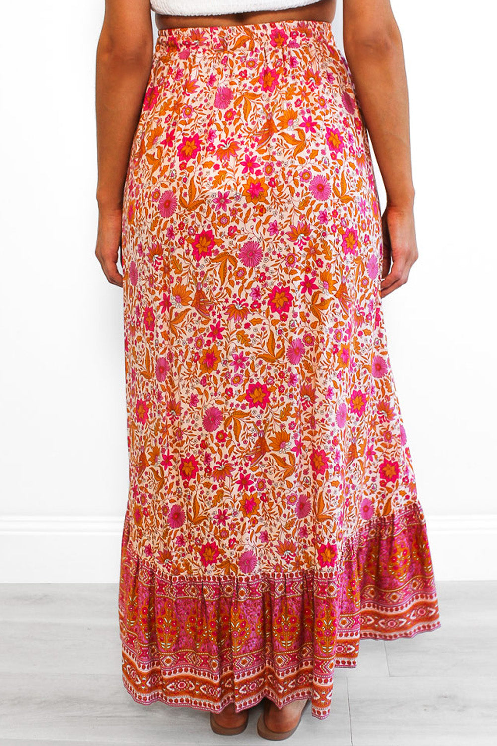 Red Floral Motif Talking Pretty Maxi Skirt