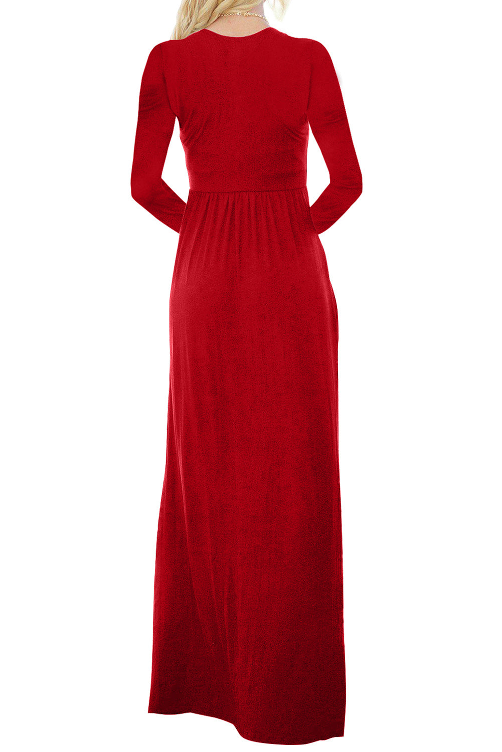 Red Long Sleeve Button Down Casual Maxi Dress