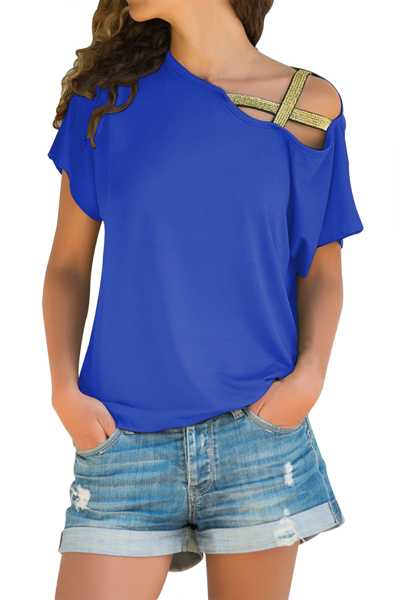 Glittery Cross Shoulder Detail Blue Short Sleeve Tee