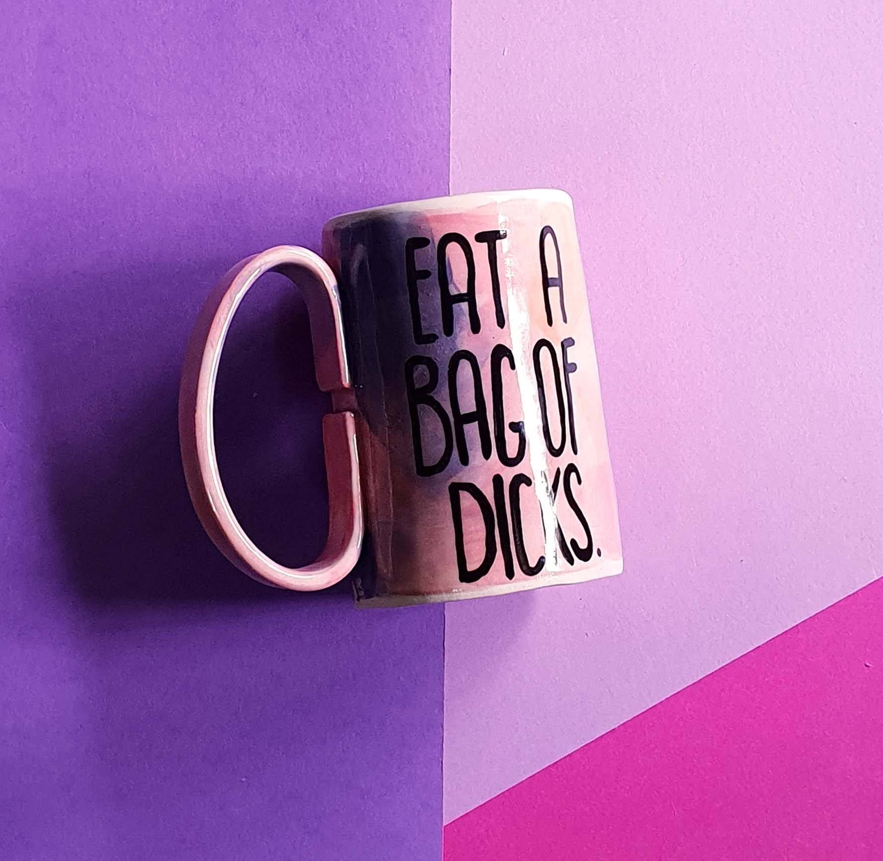 Eat a bag of d@#ks mug - Orange/pink