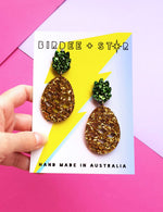 Party pina pineapple statement dangles - Gold and green foil acrylic