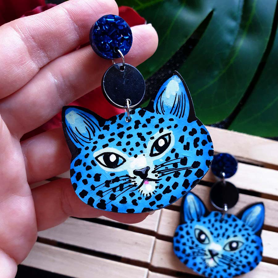 Cheetah - dangles (blue)