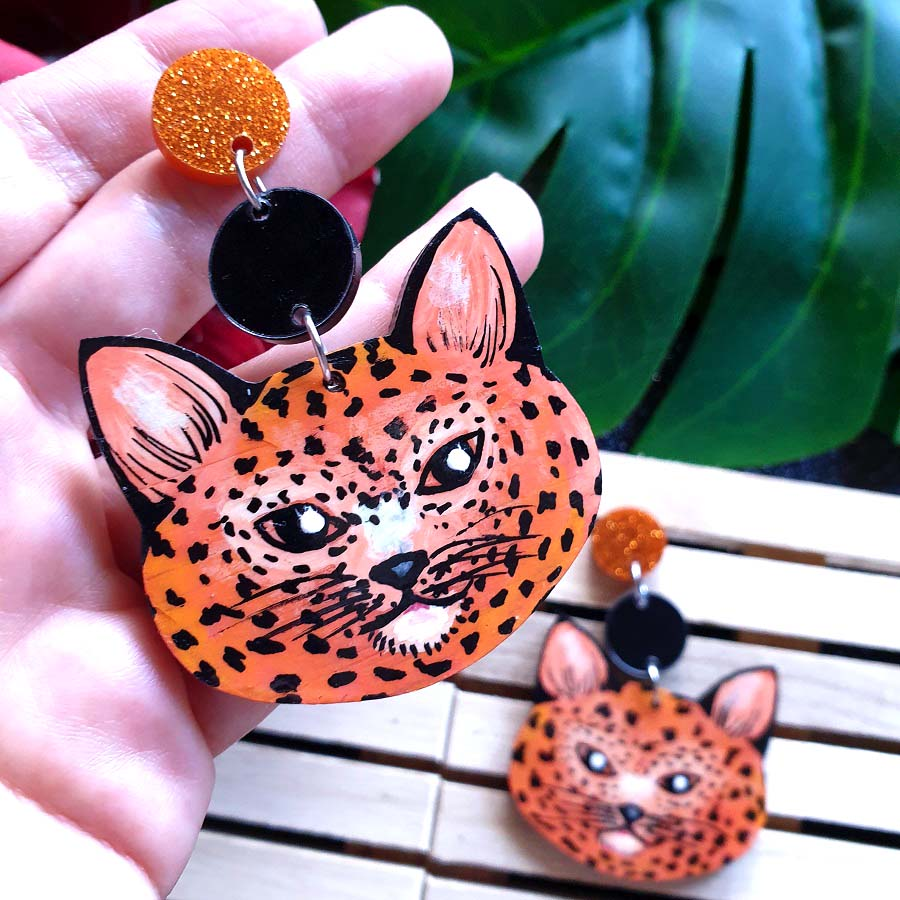 Cheetah - dangles (orange)
