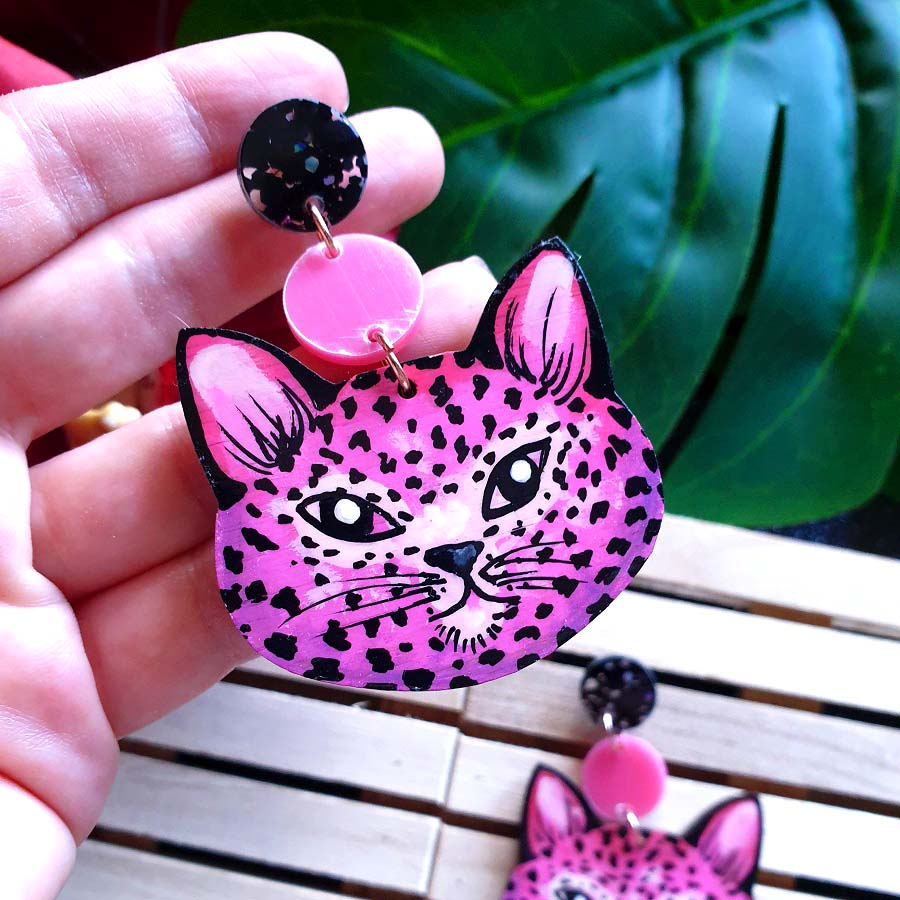 Cheetah - dangles (pink)