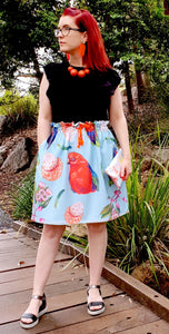 Lulu skirt in Birds of Parrot - dise print - JERSEY COTTON