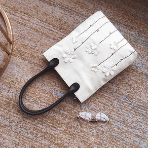 Embroidered Cotton-ramie Casual Shoulder Bag