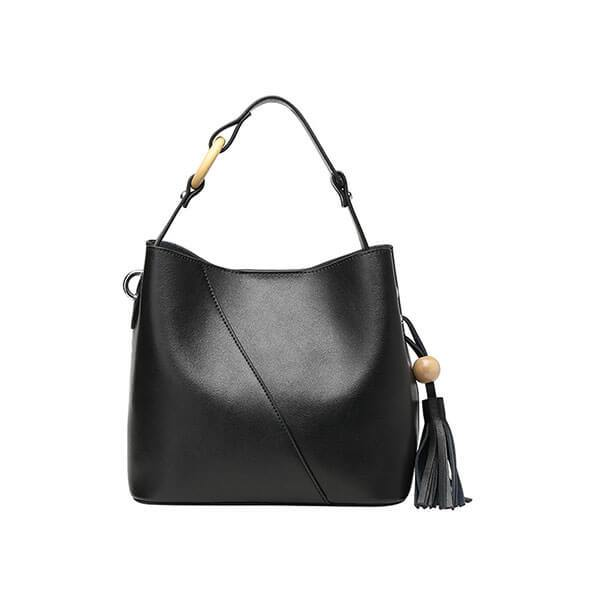 Bucket Bag With Solid Wood Accessories Handbag With Tassels