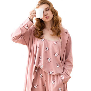 Pure Cotton Three-piece Long Sleeves Pajamas Set