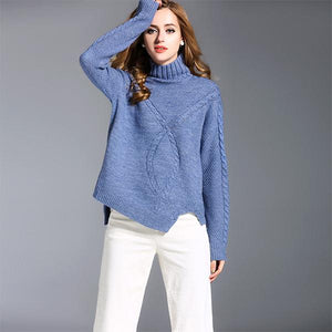 Blue Sweater Knitted Sweater Unique Lower Hem