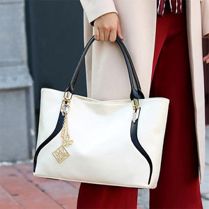 Women's Tote Bag With Bow and Metal Pendant