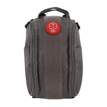 Exterior of gray insulated medical bag showing the medical alert patch.