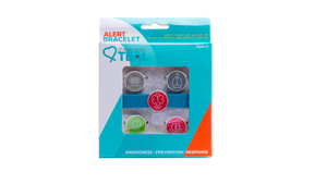 Medical alert band in box with asthma, carries epinephrine, tree nut, and peanut allergy alert charms.