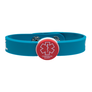 Medical Alert band in teal with red and white medical alert symbol in the middle