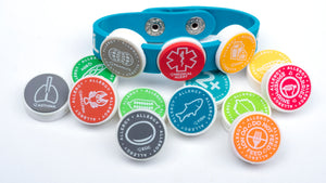 Medical Alert Band and alert icons that connect to the alert bracelet to prevent exposure and warn of medical issues.