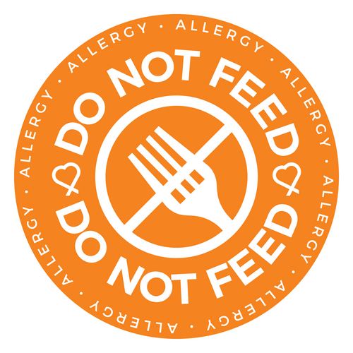 Do Not Feed sticker, meant to notify and remind those that the person wearing this sticker has an allergy and should not be fed to prevent exposure.