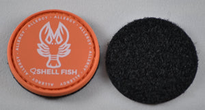 Shellfish Allergy alert patch to be used on medical bag, backpacks and other bags. Can be used where you use moral patches.