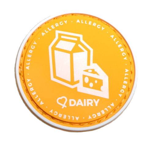 Dairy Allergy alert patch to be used on medical bag, backpacks and other bags. Can be used where you use moral patches.