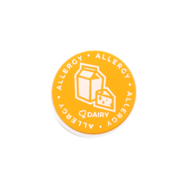 Dairy Allergy alert charm meant to be used on a medical alert bracelet or band. Used to help alert others and help prevent exposure to dairy