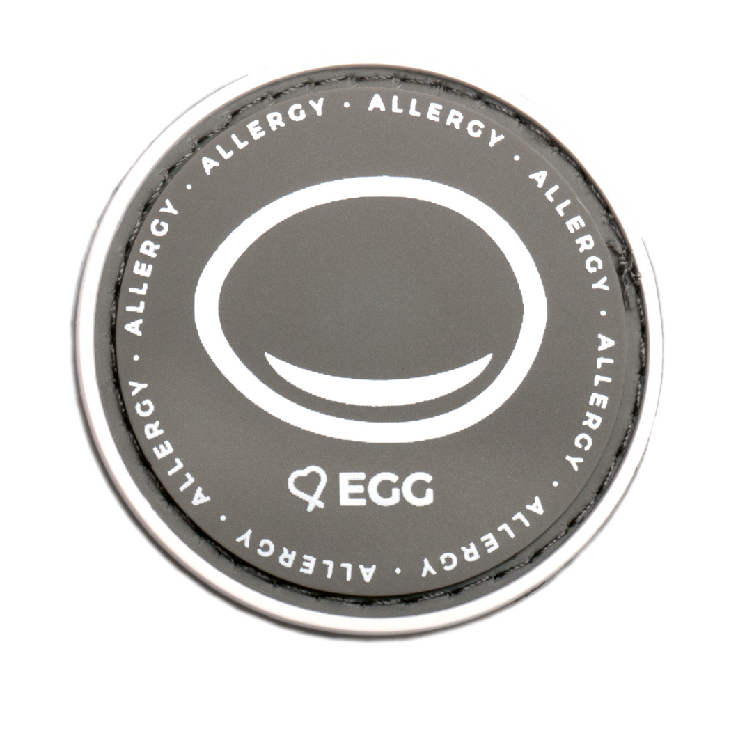 Egg Allergy alert patch to be used on medical bag, backpacks and other bags. Can be used where you use moral patches.