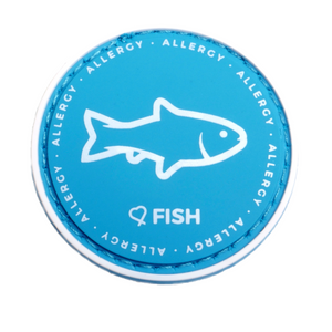 Fish Allergy alert patch to be used on medical bag, backpacks and other bags. Can be used where you use moral patches.