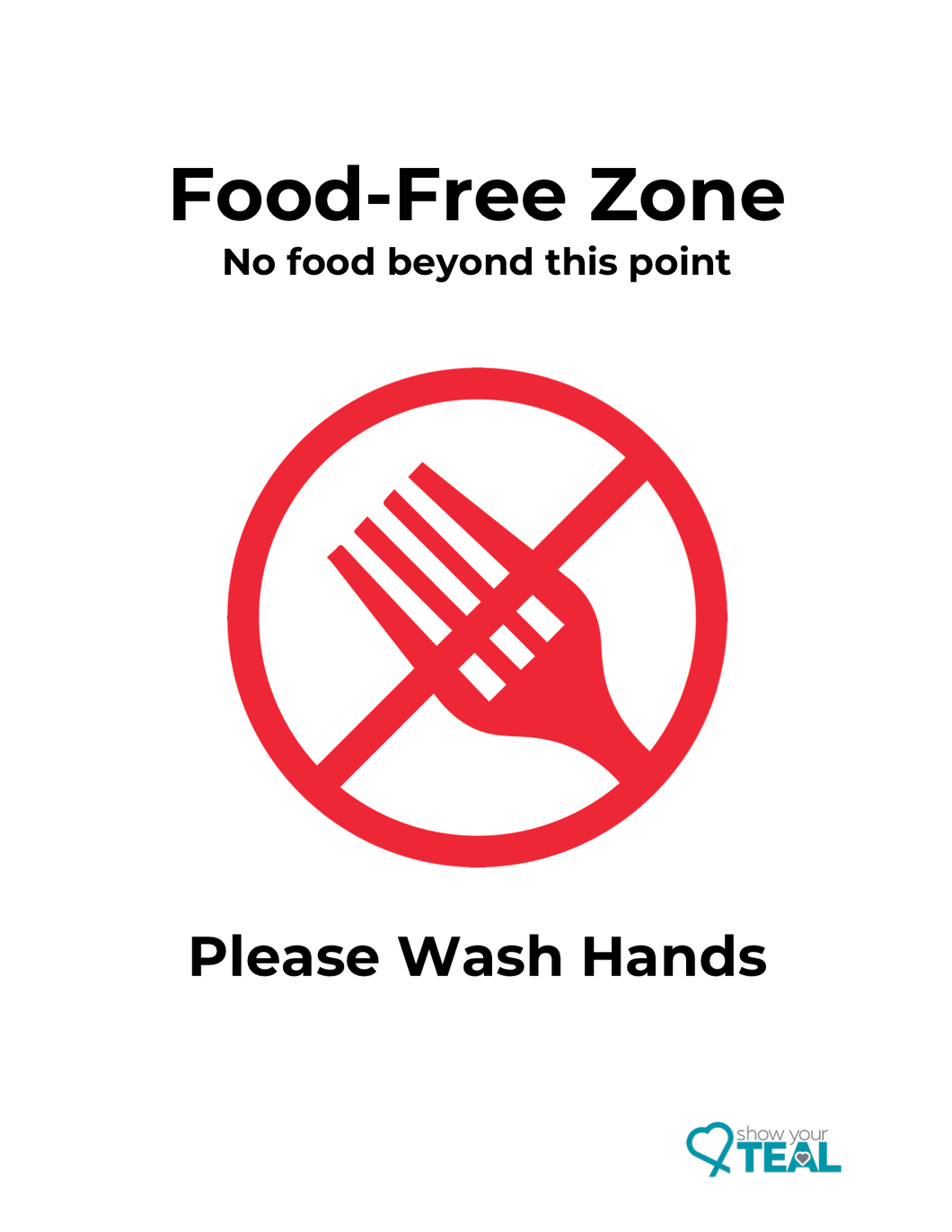 Food-Free Zone poster used to display an area or location that you want to keep free of food.