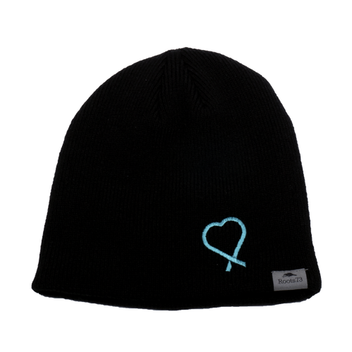 beanie by Roots sporting the Show Your Teal heart to raise awareness of food allergies