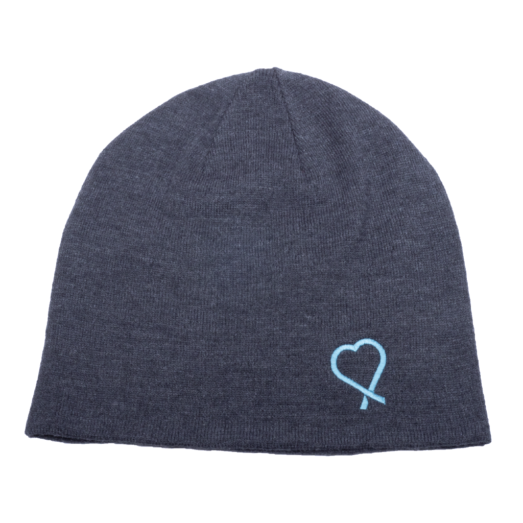 Slouch style beanie sporting the Show Your Teal heart to raise awareness of food allergies