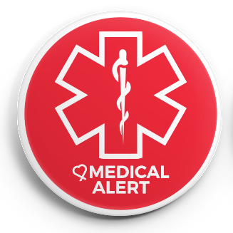 Medical Alert Button in bright red and white. It can be used to warn others of a medical issue or possible medical issue