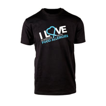 Food Allergy Awareness tee shirt to show off your support and love of someone who has food allergies.