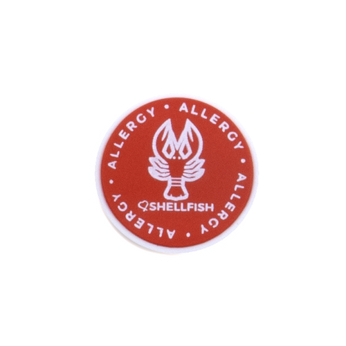 Shellfish Allergy alert charm meant to be used on a medical alert bracelet or band. Used to help alert others and help prevent exposure to shellfish