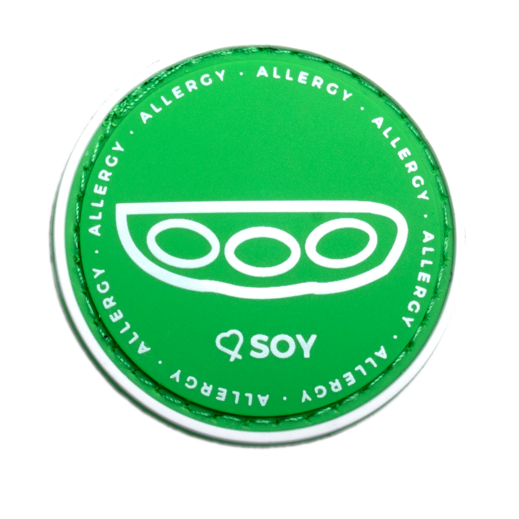 Soy Allergy alert patch to be used on medical bag, backpacks and other bags. Can be used where you use moral patches.